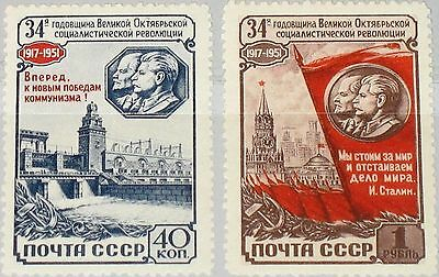 RUSSIA SOWJETUNION 1951 1599-00 1596-97 34th Ann October Revolution Stalin MNH