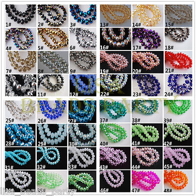 Wholesale 500pcs 3mm Faceted Rondelle Crystal Glass Loose Small Beads 67colors