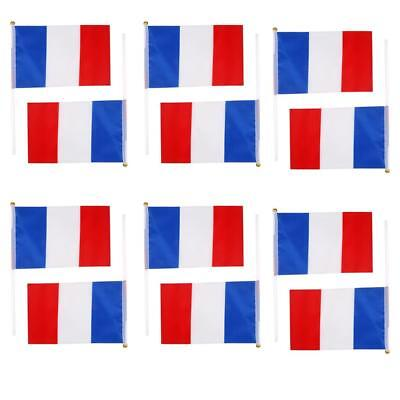 12Pcs Small French Frence Paris Francais Hand Waving Flags Banners Pole 8*5""