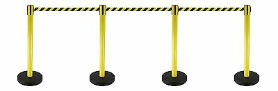 Safety Retractable Barriers- Black and Yellow Sets of 4