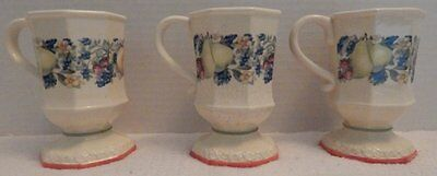 "3 Avon Sweet Country Harvest Collectible Coffee/Tea Pedestal 5"" Mugs 8 Oz"
