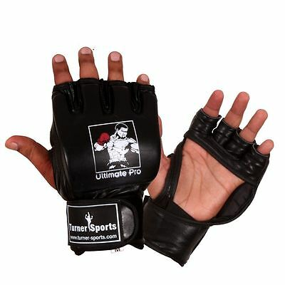 TurnerMAX Leather MMA Gloves Sparring Mitt Grappling Boxing Punch Bag Muay Thai