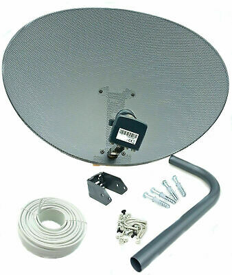 Complete Mk4 Satellite Dish Kit Quad Lnb & 20M Twin White Coax Cable For Sky Hd
