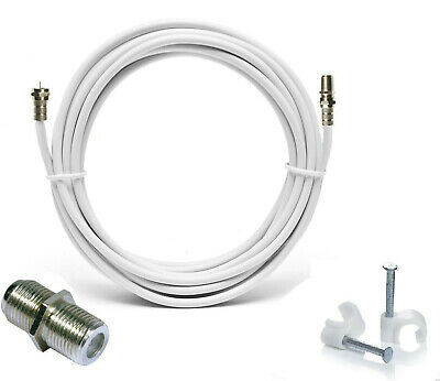 2m White RG6 Satellite Coax Cable Coaxial Lead 4 Sky Plus HD TV & F's + Clips