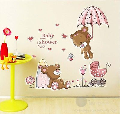 Pink bear umbrella Wall Stickers Baby girl room nursery kids room decor decals