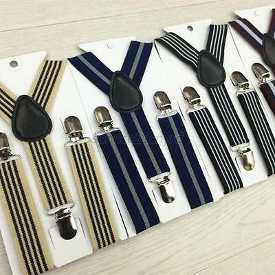 Retro Stripes Clip-on Suspenders Elastic Braces For Kids Boys Girl Children U38