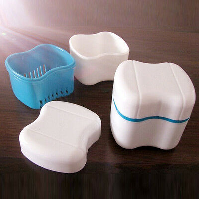 Denture False Teeth Box Rinsing Basket Container Bath Appliance Storage Case