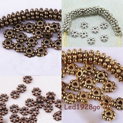 Hot 6mm Tibetan Silver Daisy Flower Shaped Spacer Beads Jewelry Making 100 Pcs