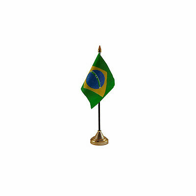 Brazil Table Desk Flag - 10 x 15 cm - National Country Hand Waving South America