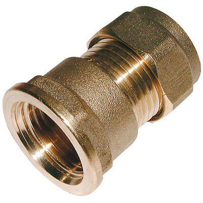 "15MM Compression Fitting - 1/2"" BSPP Parallel Female X Metric Straight Brass"