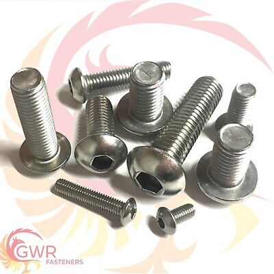 M8 M10 M12 Socket Button Screws - Dome Head - Hex Allen Bolts - A2 Stainless