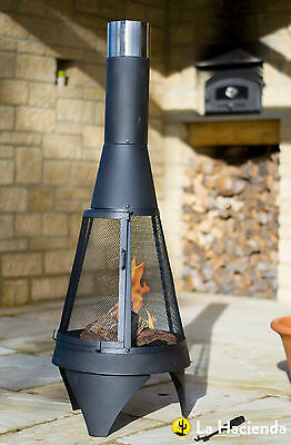 La Hacienda Colorado Black Steel Medium Chimenea Chiminea with Mesh 1.25m High
