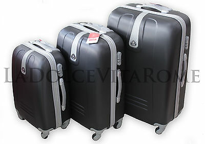Valigia Set 3 Valigie Trolley Rigido Piccolo Medio Grande 4 RUOTE in ABS ORMI