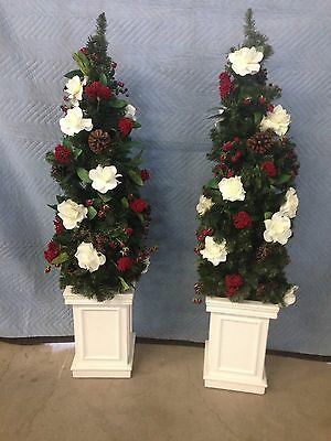 """2 New 54"""" Entry Way Christmas Tree Winter Pine White Roses Pinecones & Berries"""