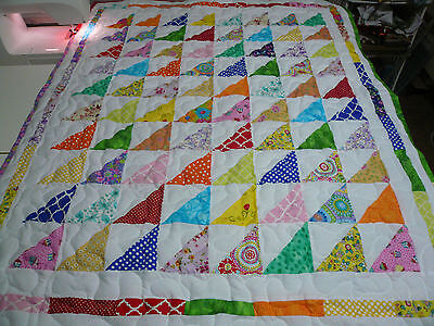 """Handcrafted Pieced Girl Rainbow Triangles Baby Crib Lap Throw Quilt 39 X50"""""""