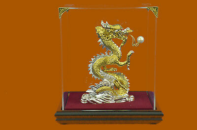 Hot Cast 100% Real Bronze Chinese Dragon Sign of Good Luck 24K Gold Plated SALE