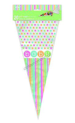 20 Baby Cone Bags Lollies Lolly Party Favours Candy Treat Baby Shower Twist Tie