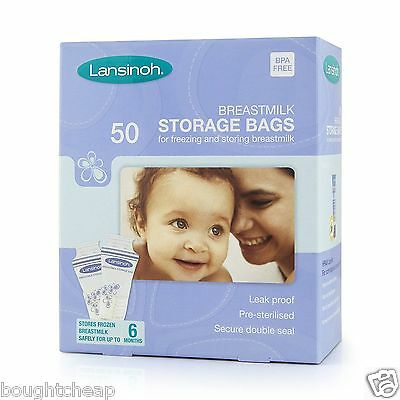 Lansinoh Baby Breast Milk Storage Bags 50 Pieces Double Pre Sterilized Zipper UK