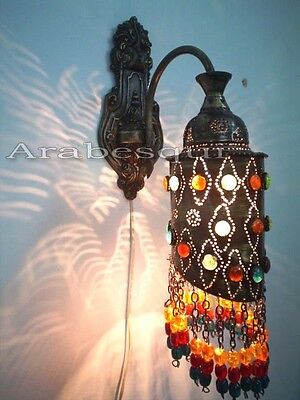 BR273 Antique Moroccan Style Jeweled Color Beads Arm Wall Sconce