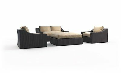 New Tuscan garden 4pc rattan wicker outdoor patio furniture love seat set