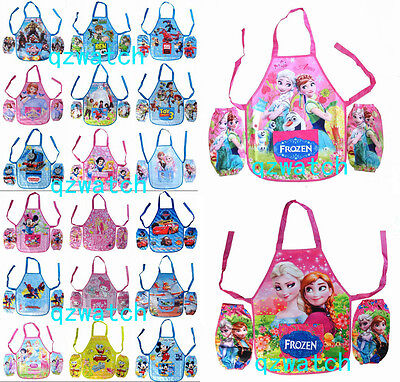 New Spiderman Princess Mickey Mouse Childrens Kids with Apron Sleeves Set