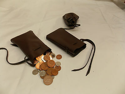 Medieval/Larp/SCA/Pagan/Reenactment Brown Leather DRAWSTRING MONEY POUCH/BAG