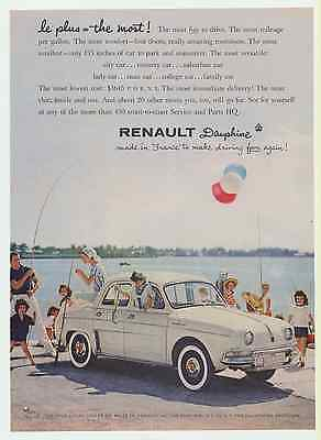 1958 Renault Dauphine Auto Vintage Print Ad Made in France to make driving fun