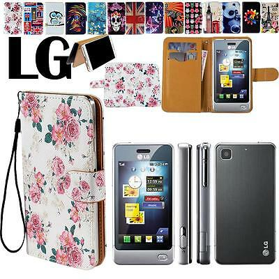 Flip Stand Card Wallet Leather Cover Case For Various LG Optimus Mobile Phones