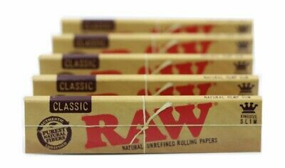 5 Packs Of Authentic Raw Natural Rolling Paper Hemp King Size Slim