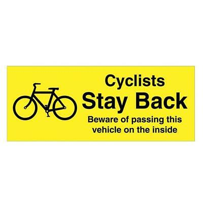 CYCLISTS STAY BACK - Window/ Body Sticker For Taxis, Cars, Vans, Lorries, HGV