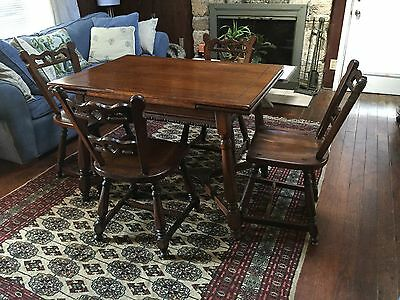 Antique Arts & Crafts Storybook Dining Set Table 4 Chairs Quater-Sawn Oak?