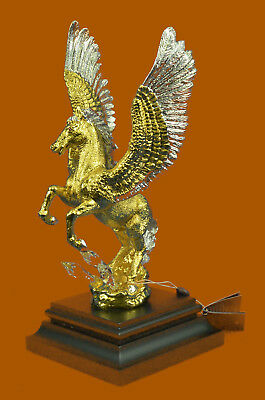 Greek Flying Horse Mythical Pegasus Bronze Sculpture Statue Figurine Figure T