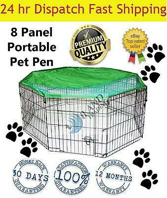 8 Panel Pet Dog Playpen Exercise Cage Puppy Crate Enclosure Cat Rabbit Fence
