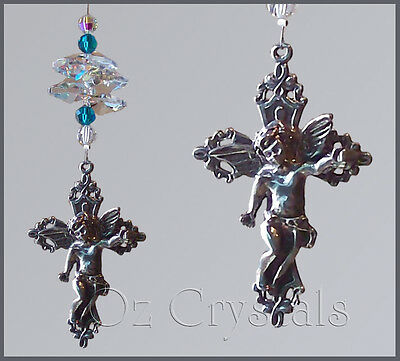 Cherub Angel / Cross Suncatcher with Swarovski Crystal AB