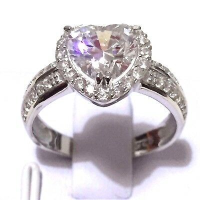 2ct Simulated Diamond Engagement Wedding Halo Heart Ring in 925 Silver Size 8