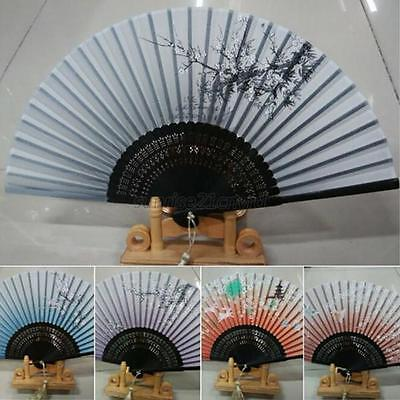 Chinese Japanese Hand Held Fan Silk Bamboo Folding Pocket Fan Party Favor U19