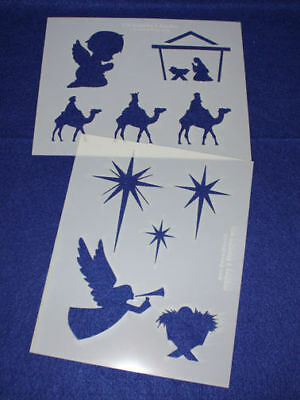 2 -Mylar 14 Mil Christian Christmas Stencils  Painting/Crafts/Stencil/Template