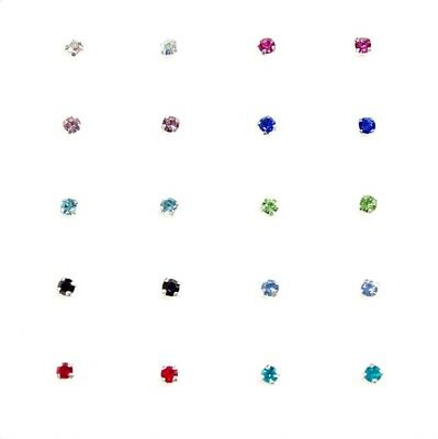 20x Sterling Silver 10 Multi Colours Square Claw Set Crystal Nose Pin Studs