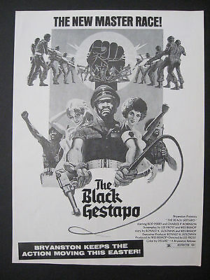 1975 THE BLACK GESTAPO Rod Perry Action Movie Release Scarce Trade Ad Bryanston