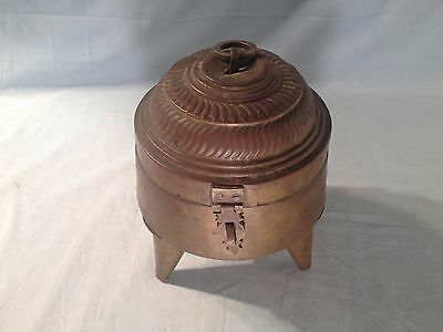 Primitive Antique Handmade Copper Pot / Betel Nut Box ~ Rare Stand~ Marked India