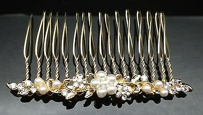 Dainty Floral Pearl Crystal HAIR COMB Clip 7cm Long Gold Wedding Bridal Formal