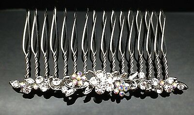Dainty Floral Crystal HAIR COMB Clip 7cm Long Silver Wedding Bridal Formal