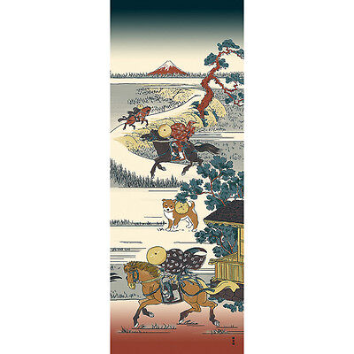 Japanese traditional towel TENUGUI COTTON HOKUSAI MAMESHIBA DOG (HA)