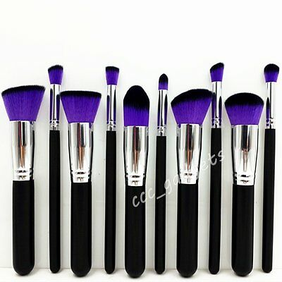 10pcs Set Make Up Brushes Foundation Concealer Bronzer Contour Blending Blusher