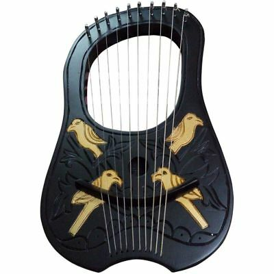 Brand New Lyre Harp Rosewood 10 Metal Strings /Harfe /HARP ROSEWOOD + FREE POUCH
