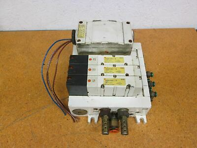 SMC Pneumatic Manifold Air 4 Station With (3) VQ4100-5 Solenoid Valves Used
