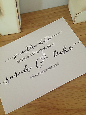 70 x Personalised Handmade Calligraphy Save The Date Cards Vintage Shabby Chic