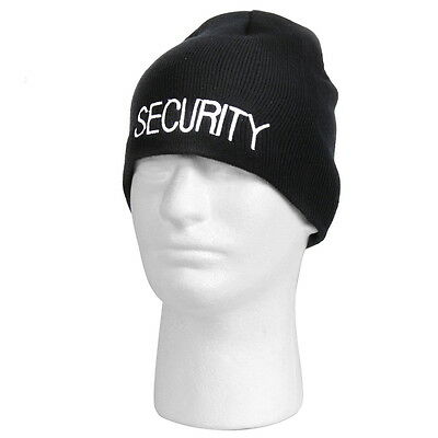 Rothco Embroidered Security Guard Officer Black Acrylic Skull Winter Cap Hat