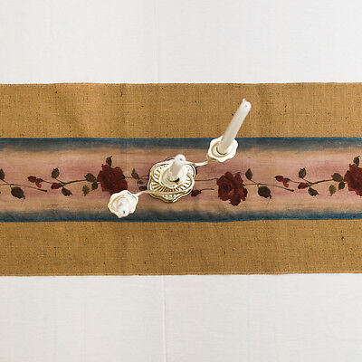Table runner made from burlap/hessian with rose appliqued. Vintage style wedding