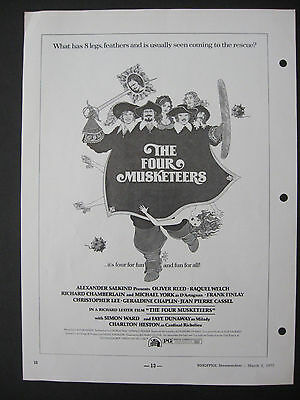 1975 Raquel Welch THE FOUR MUSKETEERS Movie Release Scarce Trade Ad 20th Century